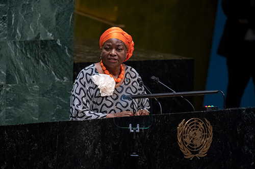 Natalia Kanem, Executive Director of UNFPA, addresses the General Assembly high-level meeting on the twenty-fifth anniversary of the Fourth World Conference on Women
