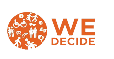 The We Decide logo shows an orange circle containing icons of happy couples, sign language, wheelchair users and cane users.