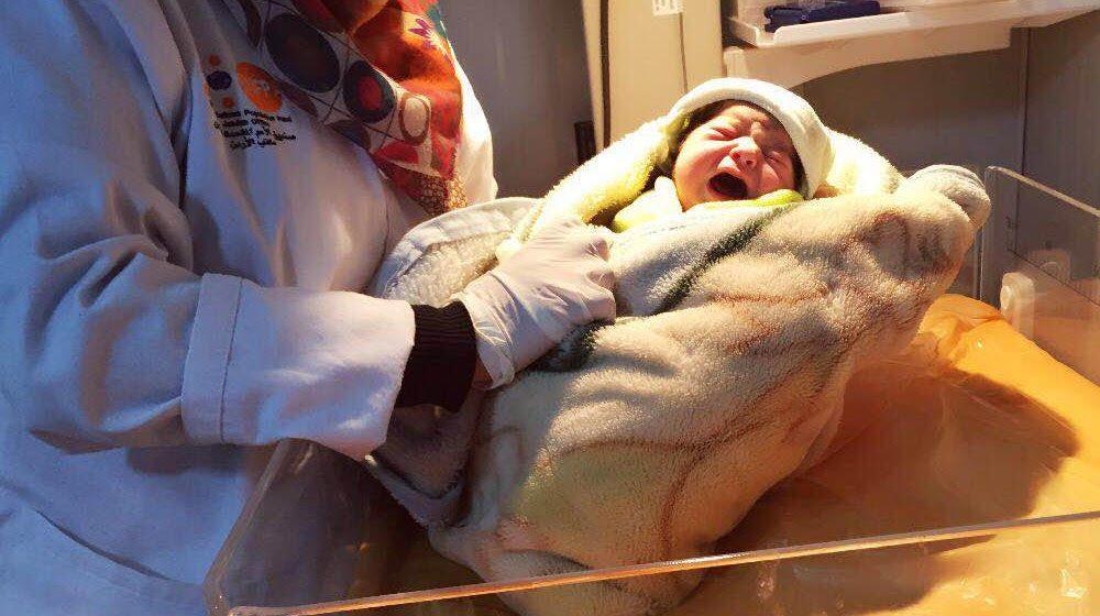 En 2016, Rima era la 5000.a criatura nacida en una clínica para refugiados en Jordania apoyada por el UNFPA. © UNFPA Jordania