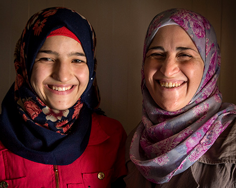 A young refugee woman and her mother.
