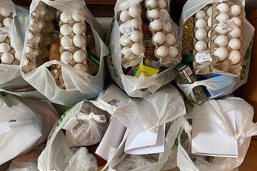 Plastic bags are filled with food items including egg cartons and various other groceries.