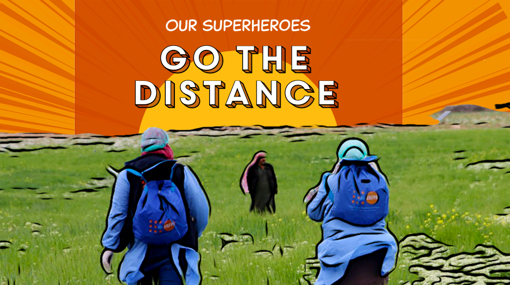 "A photo illustration shows health outreach workers in personal protective gear walking to meet a man in a field. The text says, ""Our superheroes go the distance."""