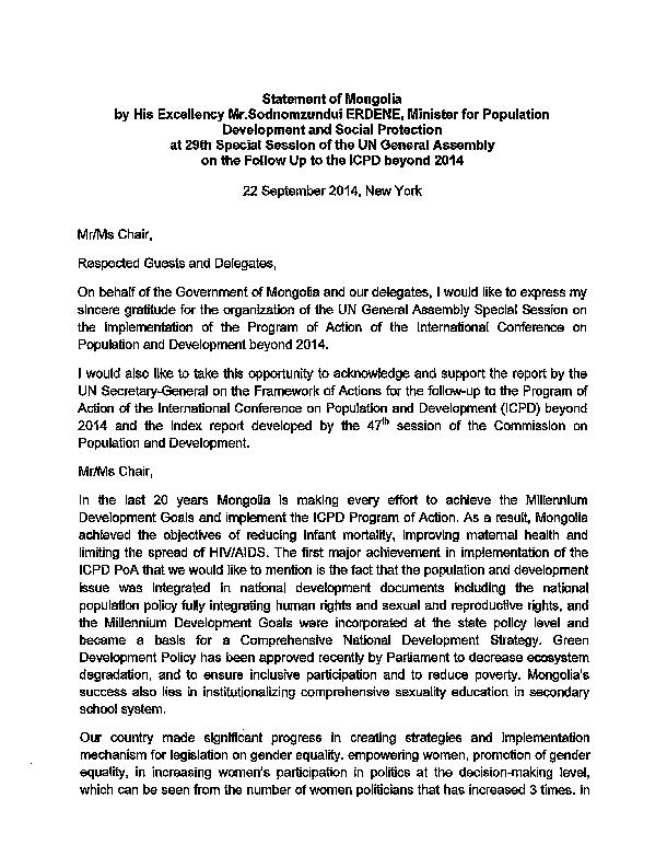 Statement from UNGASS & GA Agenda Item 13b: Mongolia | UNFPA