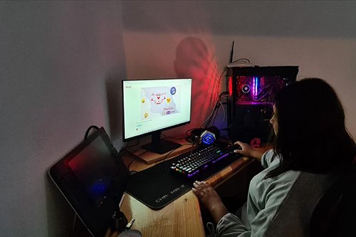 A young girl using a computer.