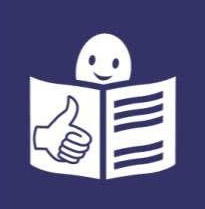 The Easy Read logo that shows a smily face reading a book