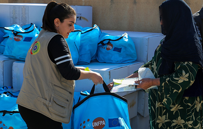 UNFPA is distributing essential hygiene supplies to women and girls displaced by the earthquake. Photo courtesy of Civil Development International
