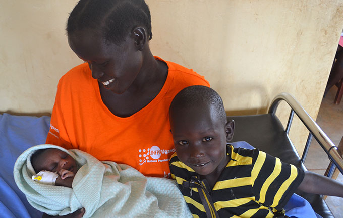 Rose Akongo, 26, was in labour by the time she arrived at the border post. © UNFPA Uganda/Evelyn Matsamura Kiapi