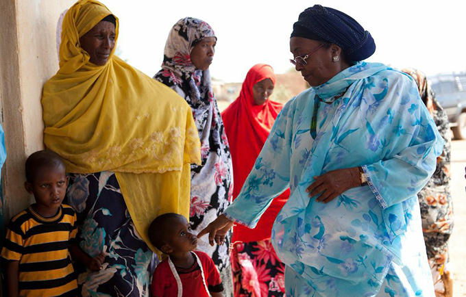 Edna Adan visits a maternal and child health center during a community outreach activity in Gumburaha. © Arthur Nazaryan/Delphin Films