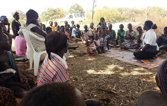A women's meeting in South Sudan. A free online course is helping aid workers improve safety and services for women and girls. © UNFPA South Sudan/Harriet Adong