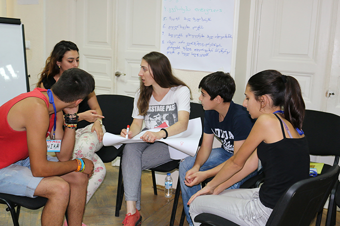 Young people from the Kakheti region of Georgia participate in peer education training on gender equality and reproductive health and rights. © UNFPA Georgia