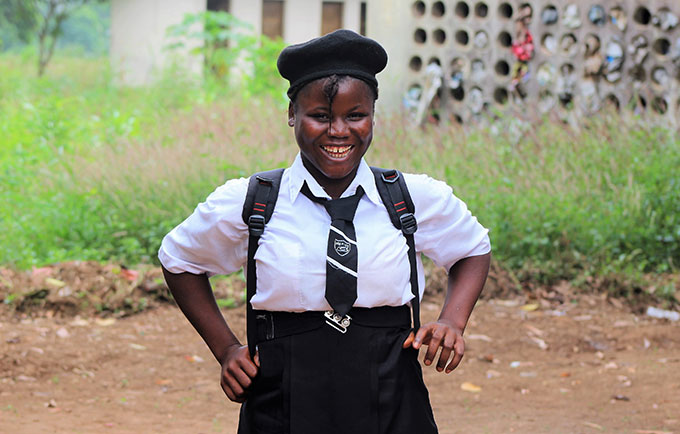 Fatmata Sesay reenrolled in school after becoming pregnant at age 15. © UNFPA Sierra Leone/Salim Kamara