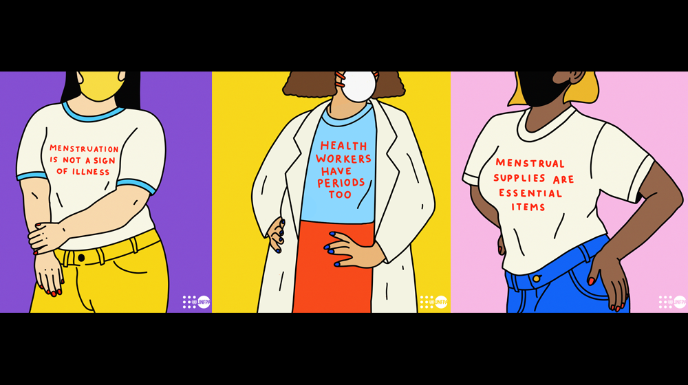 Illustration of women wearinng t-shirts inscribed with messages about menstruation: Menstruation is not a sign of illness. Health workers have periods too. Menstrual supplies are essential items.  © PONY for UNFPA