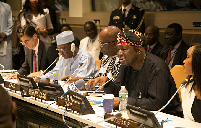World Bank Vice President Keith Hansen, President Idriss Déby of Chad, President Roch Marc Christian Kaboré of Burkina Faso, UNFPA Executive Director Dr. Babatunde Osotimehin and moderator Folly Bah Thibault (left to right) at a high-level dialogue on achieving the demographic dividend. © UNFPA/Koye Adeboye