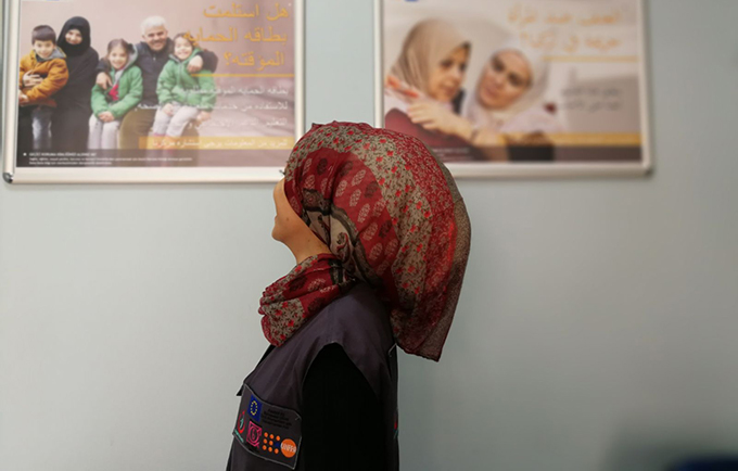 Rima*, a 22-year-old mother of two, escaped both violence in Syria and abuse in her home. Today, she works as a health mediator at a UNFPA-supported safe space in Turkey. © UNFPA Turkey