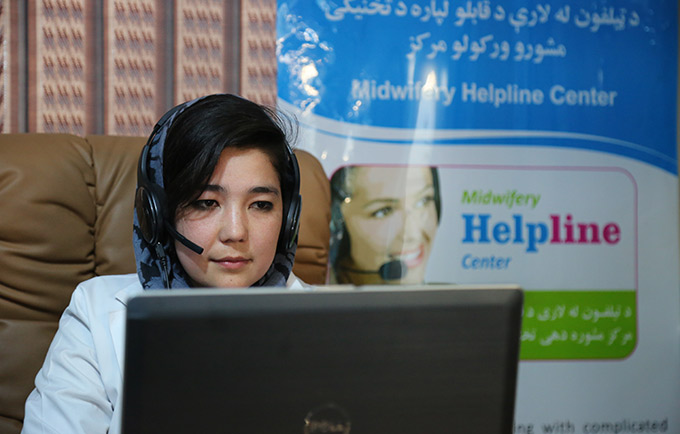 Expert midwife Tahira Nazari provides support to health workers at the Midwifery Helpline in Afghanistan. © UNFPA Afghanistan/Ahmadullah Amarkhil