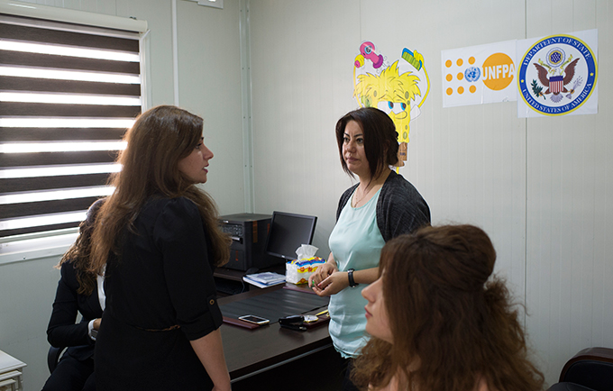 Case workers finish a meeting at the survivors' centre in Dohuk. The facility provides a full range of support services for survivors of gender-based violence. © UNFPA Iraq/Turchenkova