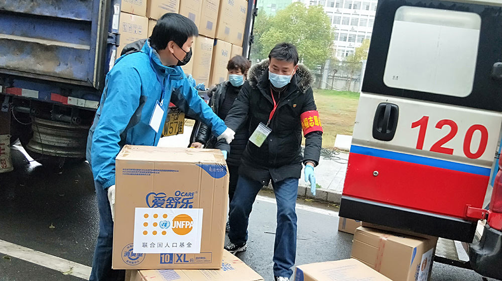 Sanitary supplies, medical equipment and other essentials are being distributed in the hardest-hit parts of China. © UNFPA China