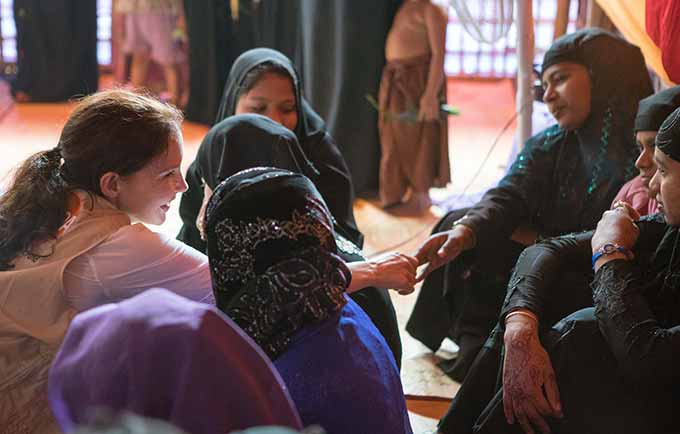 UNFPA Goodwill Ambassador visits Rohingya refugee women at a women-friendly space in Cox's Bazar, Bangladesh. Six months ago, a massive influx of refugees began to pour into Bangladesh, fleeing the violence in Myanmar. © UNFPA/Lauren Anders Brown