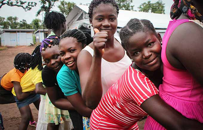 Kiena Odette,Musito and other girls take part in educational and recreational activities at the UNFPA-supported women-friendly space. © UNFPA/Tiril Skarstein
