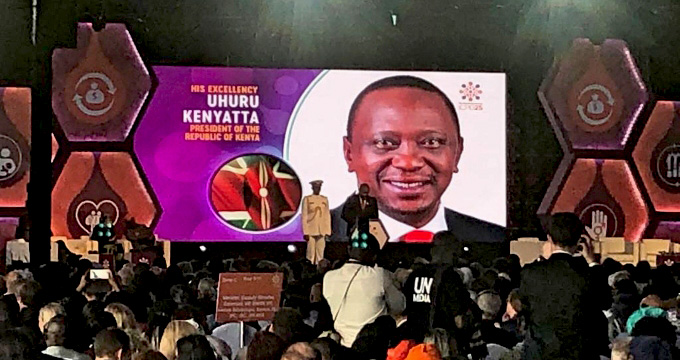 Uhuru Kenyatta welcomes delegates at the Summit's opening. © Nairobi Summit