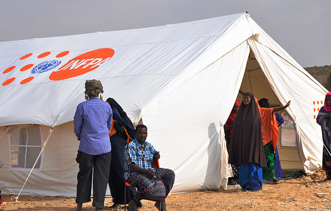 A tent serves as a maternity waiting home in a settlements for displaced people in Mogadishu, Somalia's capital. © UNFPA Somalia/Ruth Solomon