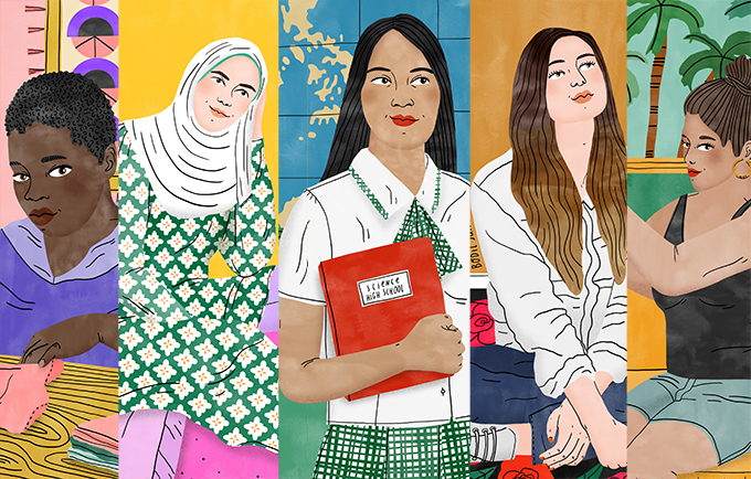 A quoi ressemble l'inégalité des genres ? Ces cinq jeunes filles peuvent vous le dire. Illustration de Bodil Jane pour l'UNFPA