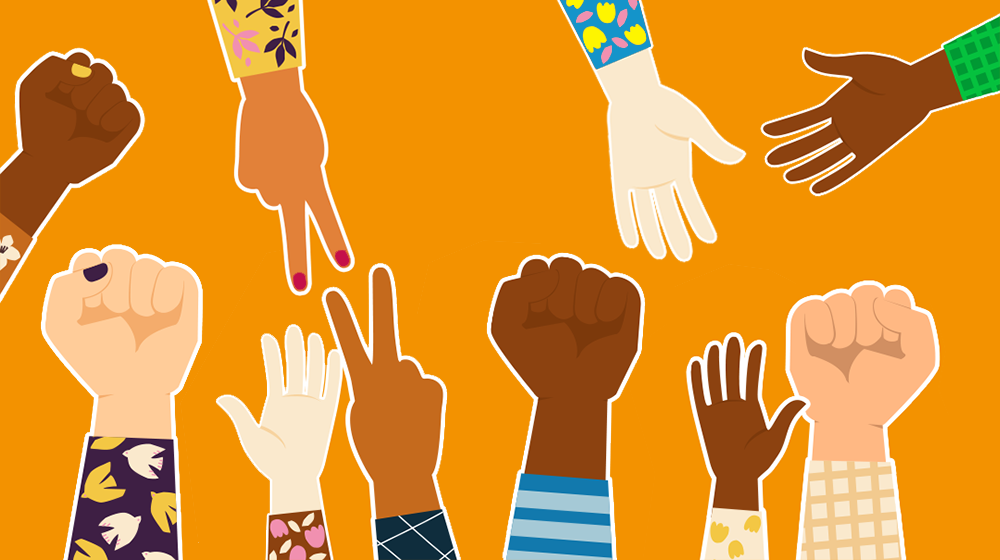 L'illustration montre des mains et des poings levés en solidarité.