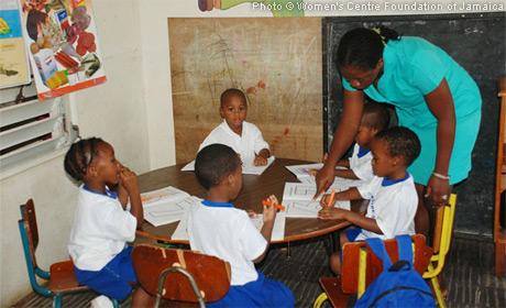 Children attend school at Women's Centre Foundation of Jamaica