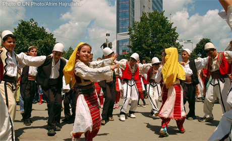 Kosovo children perform Albanian traditional dance during a show to mark International Children's Day in Pristina, Kosovo.