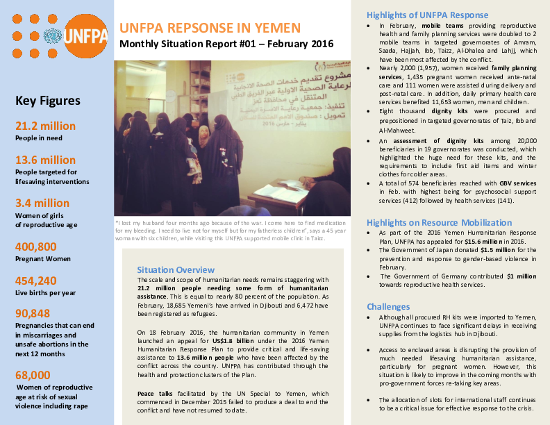 UNFPA Response in Yemen, Monthly Situation Report #01