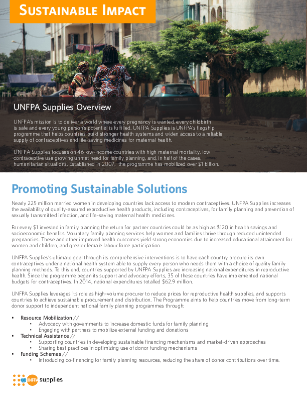 UNFPA Supplies 2015: Sustainable Impact | UNFPA - United