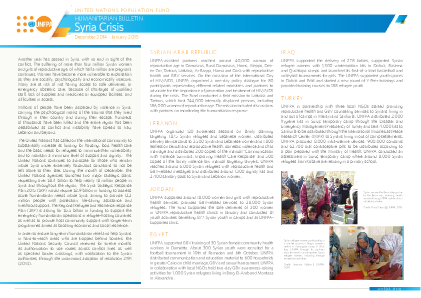 Humanitarian Bulletin Syria Crisis December 2014 - January