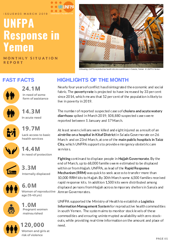 UNFPA Response in Yemen Monthly Situation Report #3 – March