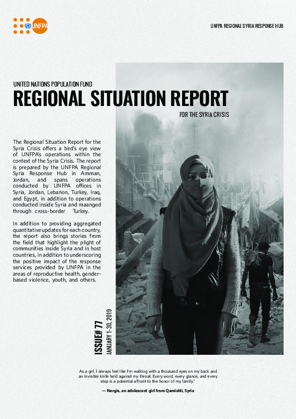 Regional Situation Report for Syria Crisis #77 January 2019