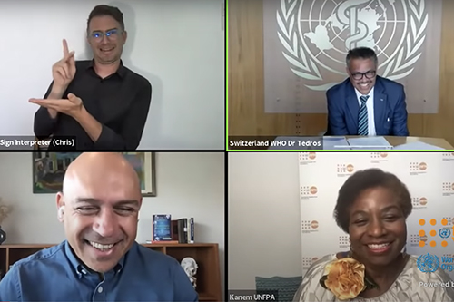 A screenshot of the virtual high-level panel shows a sign language interpreter, the host Raj Kumar, as well as WHO Director-General Dr. Tedros and UNFPA Executive Director Dr. Kanem