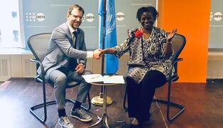 Mr. Manuel Tonnar, Director at the Luxembourg Development Cooperation Directorate, meets UNFPA Executive Director Dr. Natalia Kanem at UNFPA headquarters in New York. © UNFPA