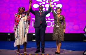 Executive Director Dr. Natalia Kanem closes a celebratory Nairobi Summit, where more than 9,500 delegates from around the world threw their support behind realizing the sexual and reproductive health and rights of all. © Nairobi Summit