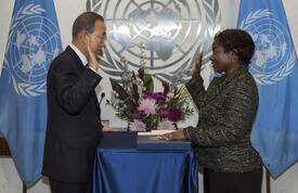 Secretary-General Ban Ki-moon (left) swears in Natalia Kanem as Assistant Secretary-General and Deputy Executive Director of the United Nations Population Fund. © UN Photo/Cia Pak