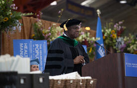 The Executive Director speaks at the commencement at Columbia University's Mailman School of Public Health.