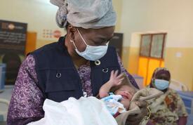 Dr. Natalia Kanem visits patient in Sudan