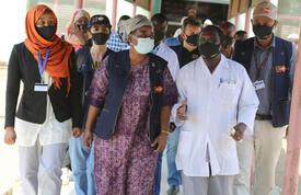 Dr. Natalia Kanem tours the hospital maternity ward in Sudan's Blue Nile state