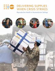 The cover of the report shows humanitarian aid works providing supplies to affected communities