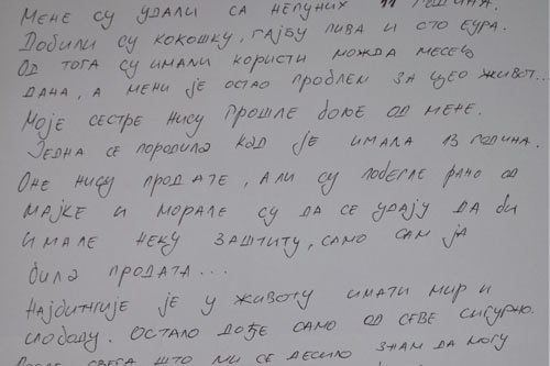 A girl in Serbia writes about being married off when she was not even 11 years old.