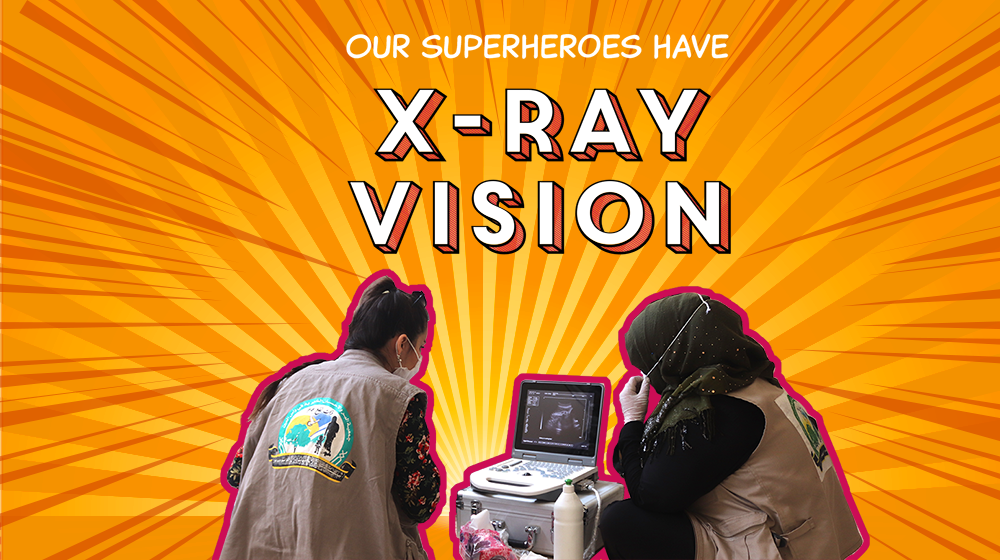 "A photo illustration shows health workers looking at a sonogram machine. The text says, ""Our superheroes have x-ray vision."""